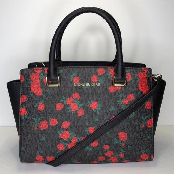 99c17177abc Michael Kors Bags | Selma Black Red Roses Bag | Poshmark